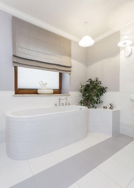 White Bathroom Window Treatments