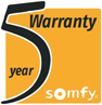 Somfy's motor and controls - Five year warranty